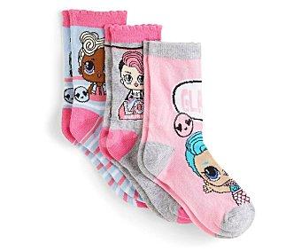 L.O.L. Lote de 3 pares de calcetines para niña Talla 31/34.