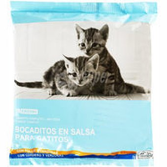 Eroski Bocaditos en salsa para gatitos Pack 4x100 g