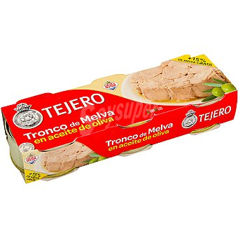 Tejero Tronco de melva en aceite de oliva pack 3 latas 56 g neto escurrido Pack 3 latas 56 g