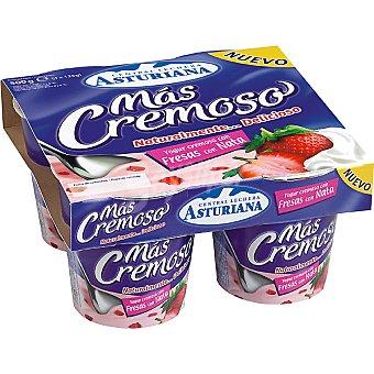 MAS CREMOSO Yogur especial de fresas con nata Pack 4 unidades 125 g