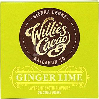 WILLIE'S CACAO Tableta de chocolate negro con jengibre y lima Kailahum tableta 50 g tableta 50 g