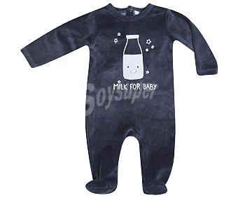 In Extenso Pijama pelele de bebe aterciopelado, color gris, talla 80
