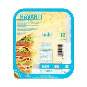 Hacendado Queso barra lonchas havarti light (envase azul) Paquete 12 u