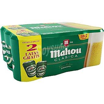 MAHOU CLASICA Cerveza rubia nacional Pack 10 latas 33 cl