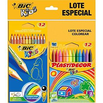 BIC Kids Pack especial Kids de lápices de colores vivos y 12 ceras plastidecor 12 unidades