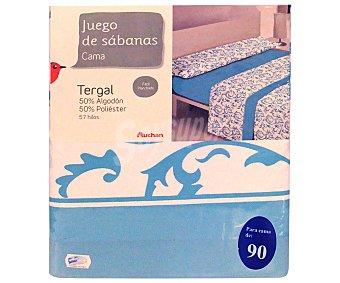 Auchan Juego de sábanas etampadas, modelo Robledo en tonos turquesa para cama de 90 centímetros, 1 unidad