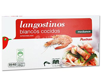 Auchan Langostinos cocidos medianos 55/75 piezas 700 gramos