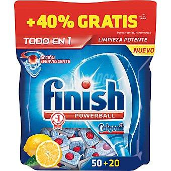 FINISH Calgonit detergente lavavajillas Power Ball todo en 1 limón acción efervescente  bolsa 50 pastillas + 20 gratis