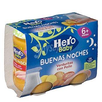 Hero Baby Buenas Noches Tarrito de pollo con verduritas a partir de 6 meses 2 x 190 g