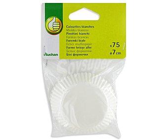 PRODUCTO ECONÓMICO ALCAMPO Moldes desechables para magdalenas color blanco, 7 centímetros de diámetro Pack de 75 Unidades