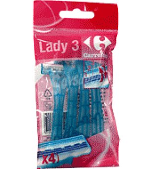 Carrefour Maquinilla desechable flexible mujer Pack de 4 ud
