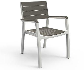 KETER Silla con brazos modelo Harmony, con estructura y patas de aluminio, aspecto Polywood (no se oxida) y acabado madera, medidas: 22.8x22.8x34 centímetros 1 unidad