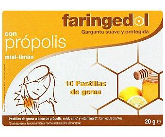 FARINGEDOL Pastillas de goma a base de própolis, miel ,zinc y vitamina C, con edulcorantes, garganta suave y protegida, 10u