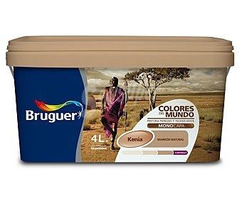 BRUGUER Pintura plástica monocapa de interior, de color marrón Kenia y acabado natural, de la serie Colores del mundo 4 litros
