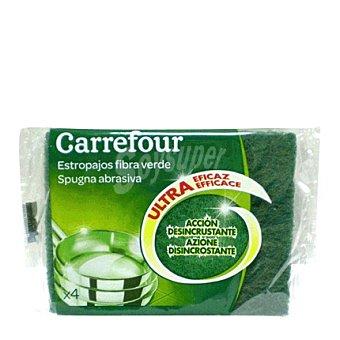 Carrefour Estropajo fibra verde 4 ud