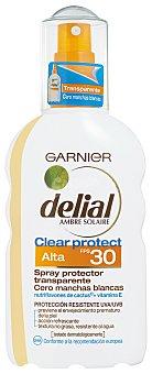 Delial Garnier Spray Protector Solar Transparente Clear Protect FP30 Spray 200 ml
