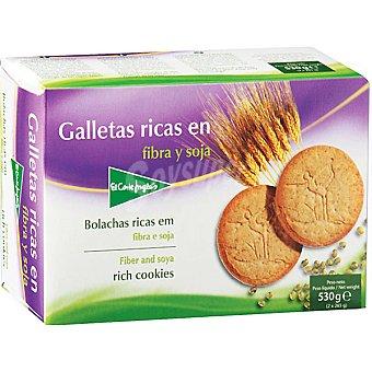 El Corte Inglés Galletas ricas en fibra y soja Paquete 530 g