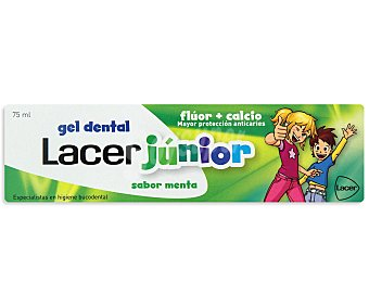 Lacer Dentífrico gel con flúor y calcio ,sabor menta , Junior 75 ml