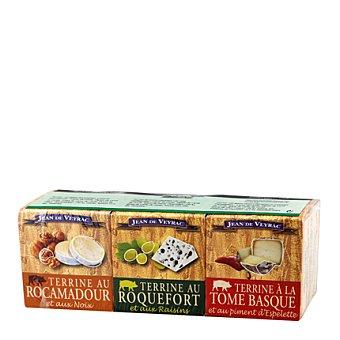 Jean de Veyrac Lote de patés: Roquefort con uvas, Rocamaudor con nueces y Tome Basque con pimiento 195 g