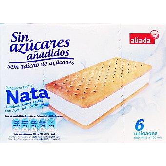 Aliada Sandwich helado sabor nata sin azúcares añadidos 6 unidades estuche 600 ml 6 unidades