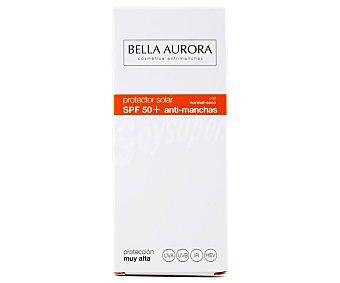 Bella Aurora Protector solar facial, con acción antimanchas y FPS 50+ (muy alto), especial pieles normales a secas 50 ml