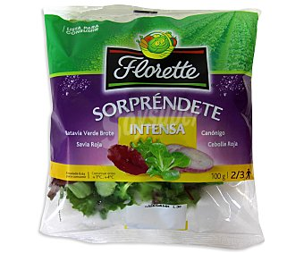 FLORETTE Ensalada sorpréndete intensa compuesta por lechuga batavia verde brote, savia roja, canónigo y cebolla roja 100 gramos