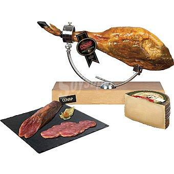 Covap Jamón ibérico puro de bellota pieza 6-7 kg + regalo de 1/2pieza de 450g aprox. de lomo ibérico puro bellota y 1/2pieza de queso puro oveja Covap de 1.450 kg aprox. 6-7 kg peso aprox.