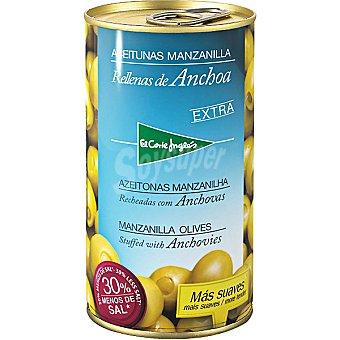 El Corte Inglés Aceitunas rellenas de anchoa 30% menos sal Lata 150 g neto escurrido
