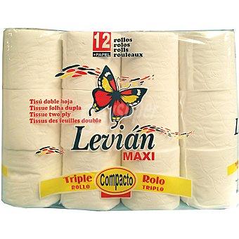 LEVIAN Papel higiénico maxi rollo compacto 2 capas Paquete 12 rollos