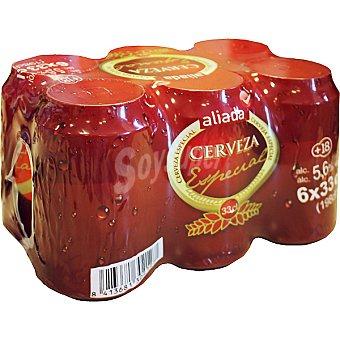 Aliada Cerveza rubia especial Pack 6 latas 33 cl