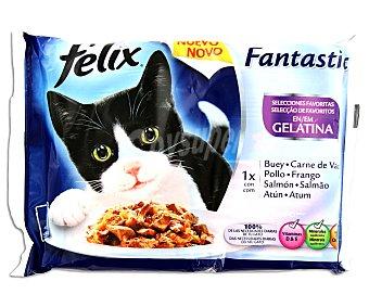 Purina Felix Comida húmeda para gatos adultos selecciones favoritas en gelatina Pack 4 x 100 g