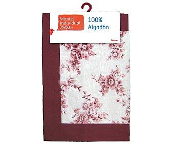 Auchan Mantel individual estampado color rosa, 100% algodón, 35x50 centímetros 1 Unidad