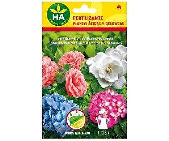 HA-Huerto y Jardín Fertilizante plantas ácidas y delicadas soluble, sobre para preparar 5 Litros 20 Gramos