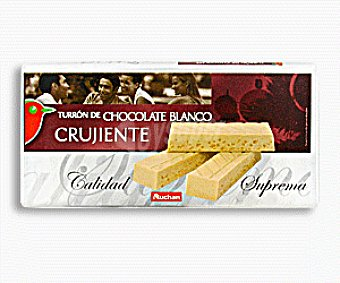 Auchan Turrón de chocolate blanco 300 gramos