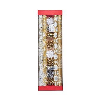Bosque Verde Papel regalo set navidad oro (4 rollos, 7 lazos y cintas) Paquete 4 rollos