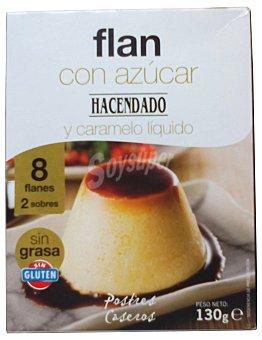 Hacendado Flan polvo con azucar y caramelo 2 sobres (8 raciones) Caja 190 g