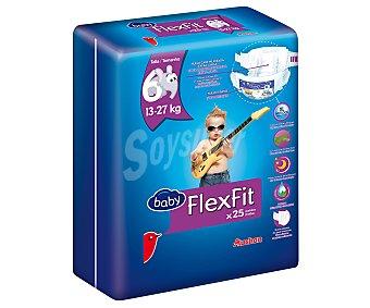 AUCHAN Baby FLEXFIT Pañales talla 6, para niños de 13 a 27 kilogramos 25 uds