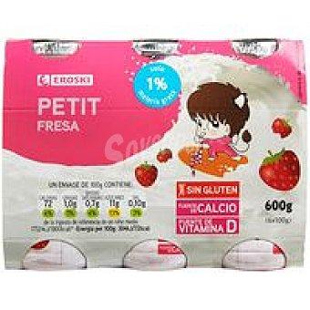 Eroski Petit para beber de fresa Pack 6x100 ml