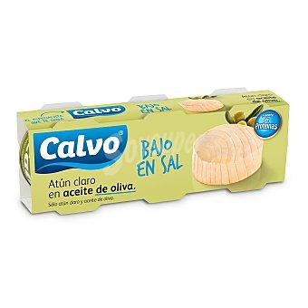Calvo Atún claro en aceite de oliva bajo en sal Pack 3 latas x 52 g