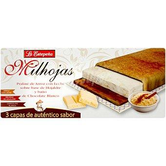 LA ESTEPEÑA Milhojas Praliné de arroz con leche sobre base de hojaldre y baño de chocolate blanco Tableta 200 g