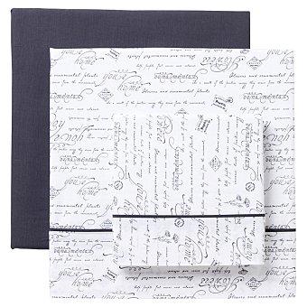 CASACTUAL Juego de sábanas con texto en color gris Home Pluma 1 unidad