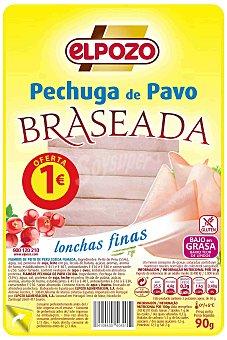 ELPOZO pechuga de pavo braseada 8 lonchas finas  envase 90 g
