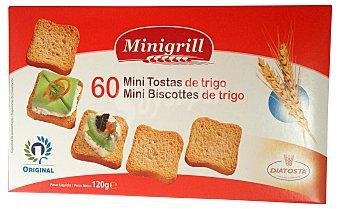 MINIGRILL Pan tostado blanco biscote mini ( cuadrado tipo canape) Caja 120 g