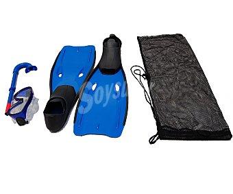 BESTWAY Set de buceo compuesto por aletas de la talla 36-38, mascara, tubo y bolsa para guardarlo 1 unidad