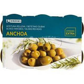 Eroski Aceitunas rellenas de anchoa Pack 6x50 g