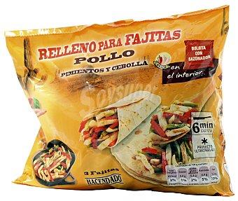 Hacendado Relleno fajitas congelado ( pollo, pimiento,cebolla y sazonador ) Paquete 300 g