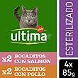 Alimentación húmeda para gatos adultos esterilizados bocaditos en gelatina Pack 4 bolsa 85 g Ultima Affinity