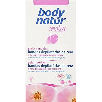 BODY NATUR Sensitive Bandas depilatorias de cera a la rosa mosqueta regeneradora pieles sensibles Caja 20 unidades