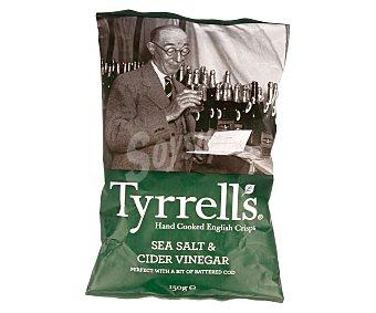 Tyrrells Patatas fritas con sabor a vinagre de sidra y sal marina 150 gramos