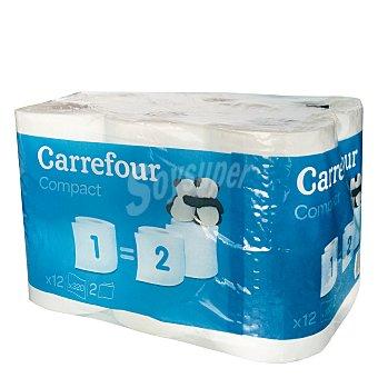 Carrefour Papel higiénico compact doble rollo 12 rollos